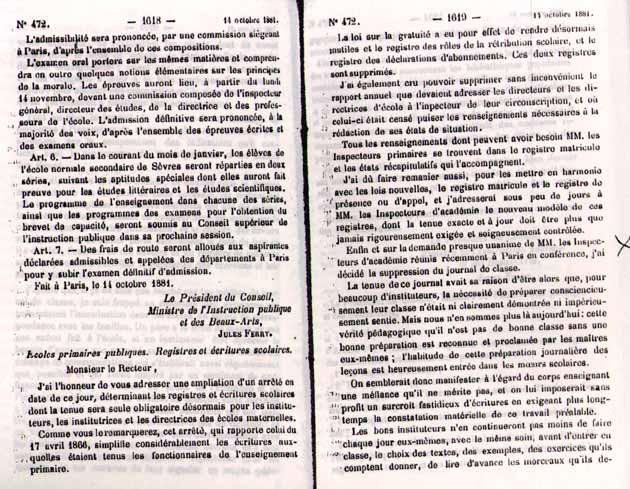 Primaire : Le cahier journal 14octobre1881